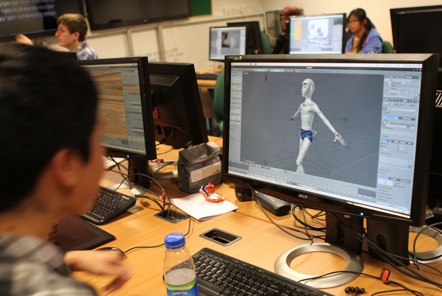 Students work with Blender in UCL Computer Science labs